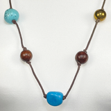 Wood and coloured necklace