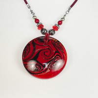 Leather cord necklace with rose glass pendant