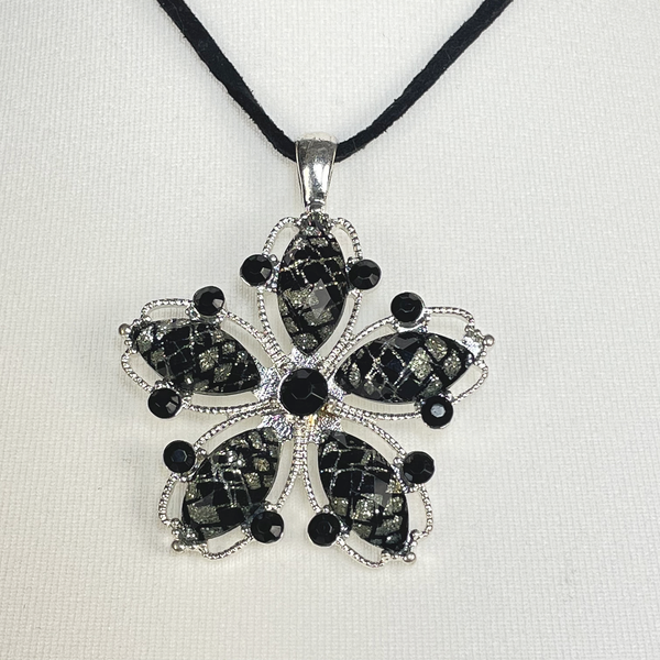 Leather cord necklace with black flower