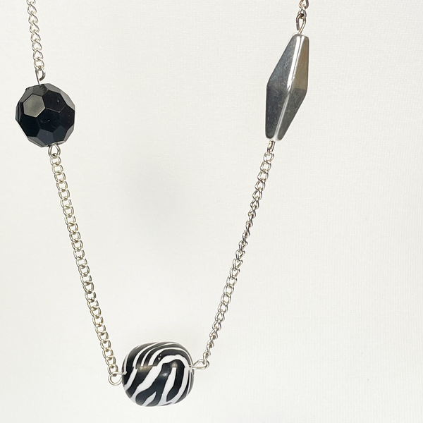 Silver black and white necklace