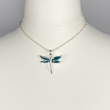 Necklace with green dragonfly pendant