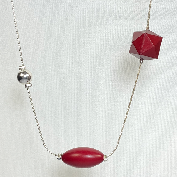 Red and silver long necklace