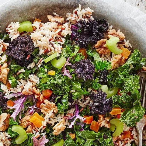 Walnuts, wild rice and winter green salad the plantbase store