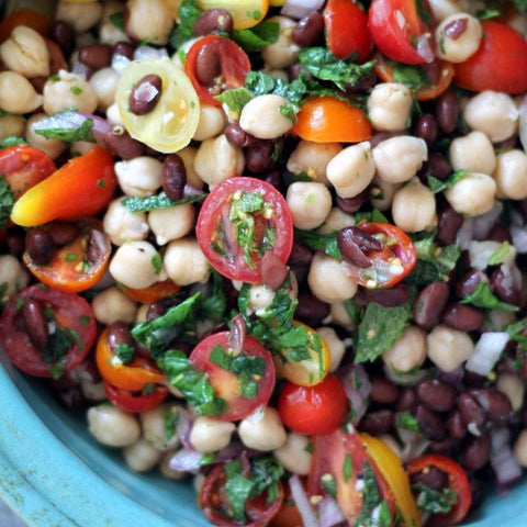 Middle Eastern Chickpea and Black bean Salad the plantbase store