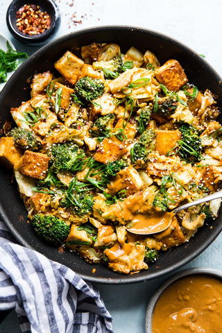 The Plantbase store vegan tofu stir fried with vegetable