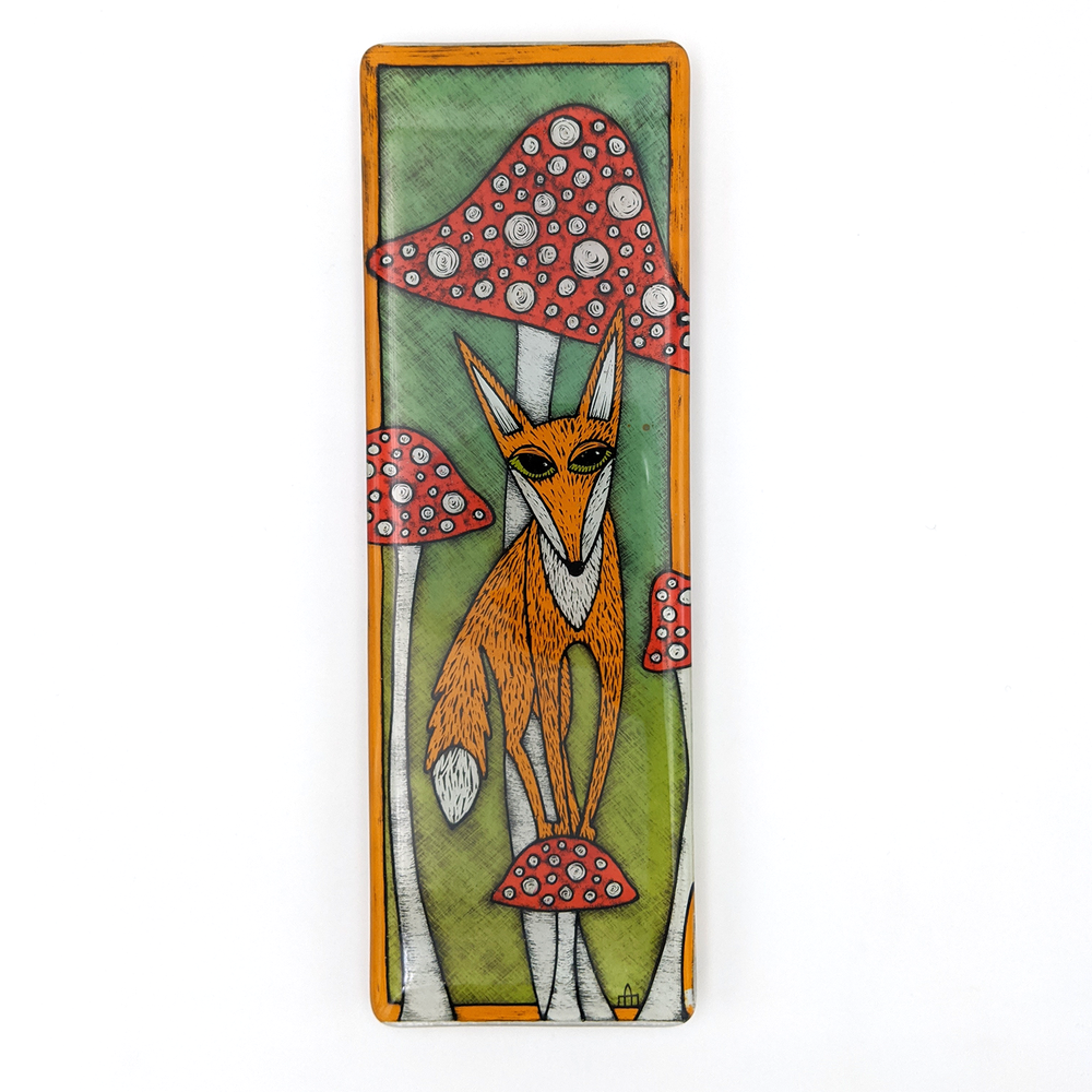 Fox on a Toadstool Hand Painted Tile