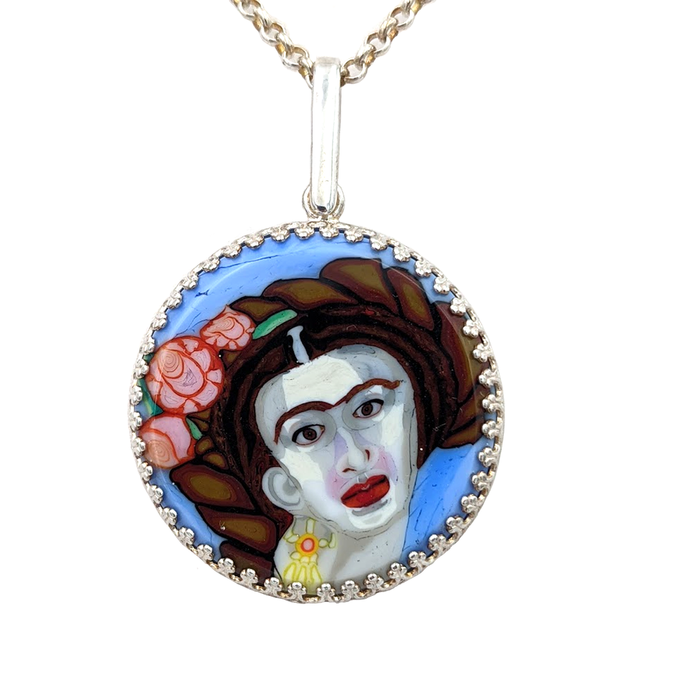 Frida Kahlo Pendant by Lunacy Glass