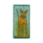 Silly Dog Art Glass Hand Painted Tile