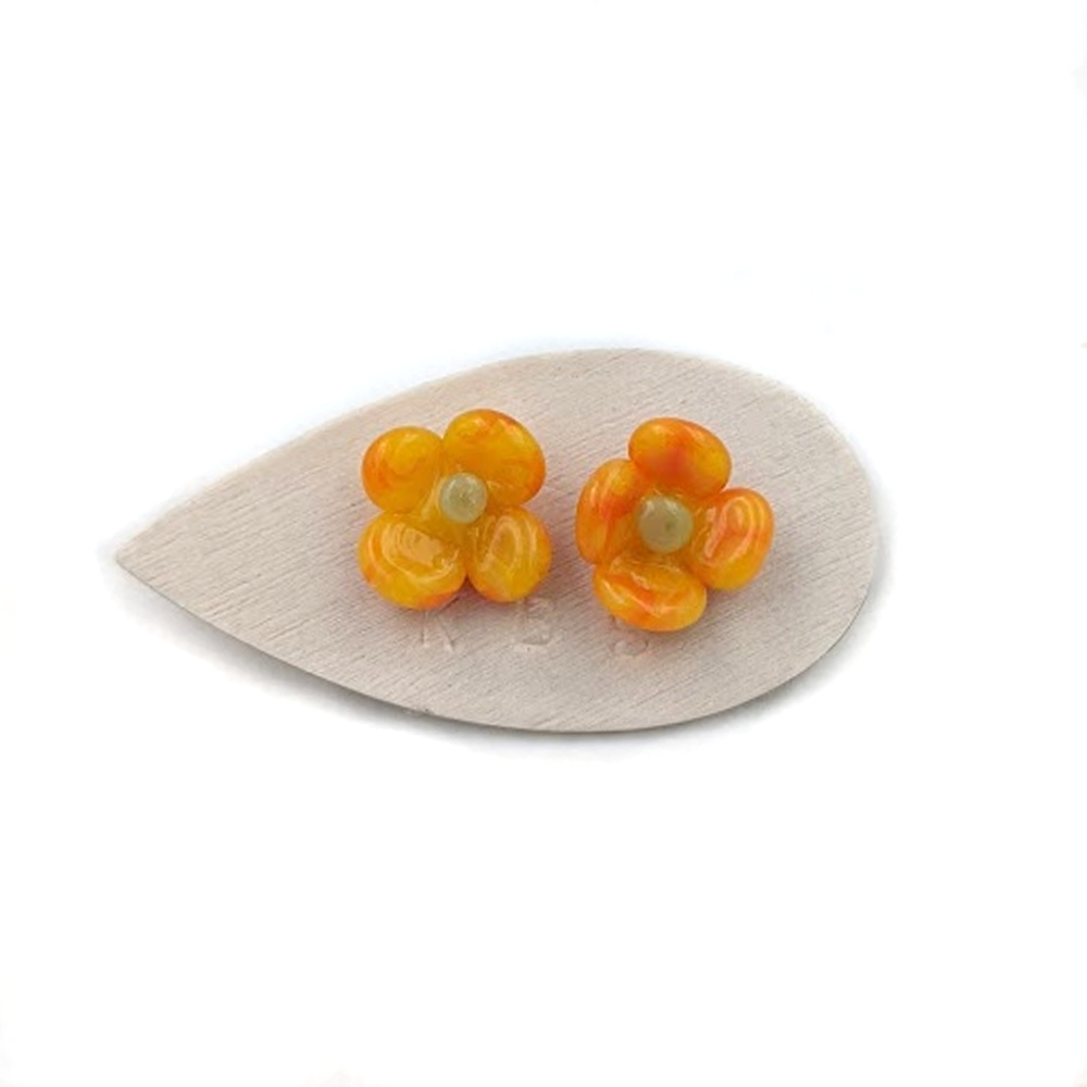 Krista Bermo Glass Orange Flower Earring
