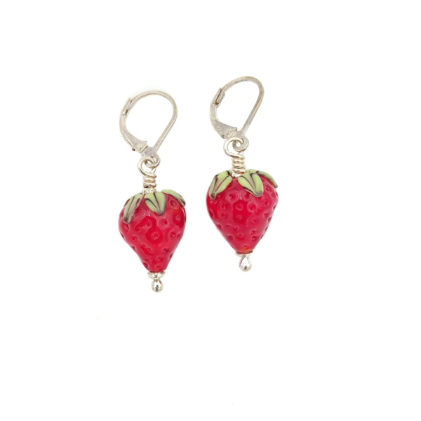 Strawberry Earrings by Lunacy Glass