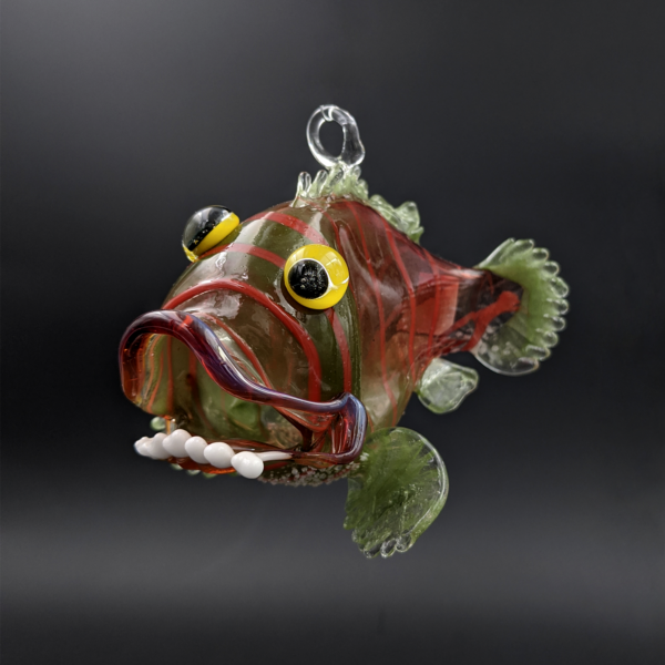 Funny Fish Ornament by Zee Glass
