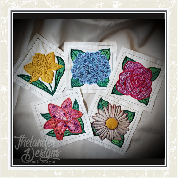 T1491 Flower Applique Quilt Blocks 2