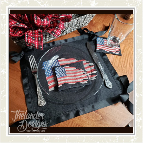 T1691 Rugged Flag Drink Coasters Embroidery