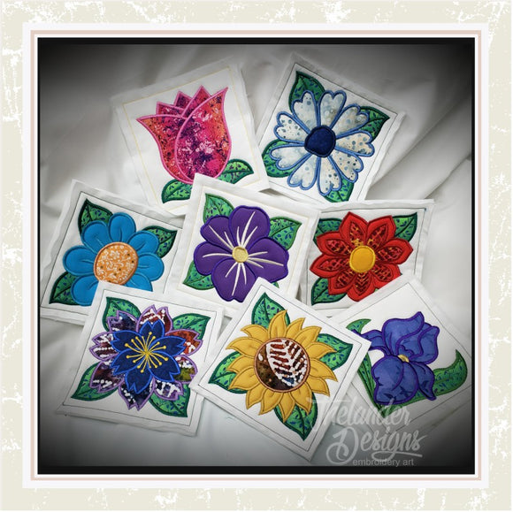 T1445 Flower Applique Quilt Blocks