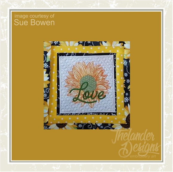 T1626 Love Sunflower Quilt Block