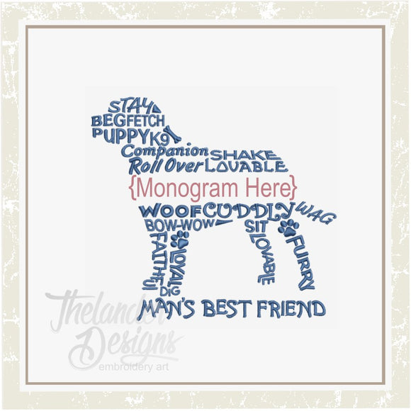 T1343 Dog Monogram Frame