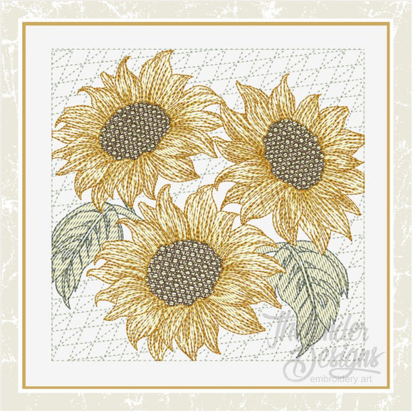 T1630 Sunflower Trio Quilt Blocks