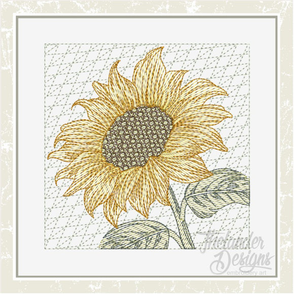 T1631 Sunflower Tilted Block