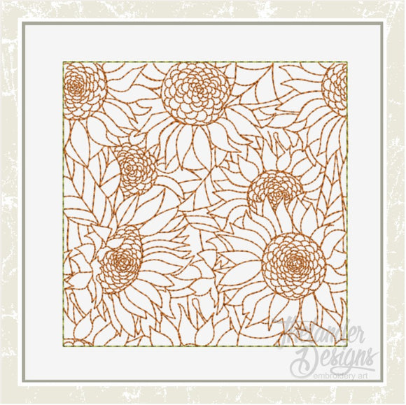 T1632 Sunflower Stippling Quilt Block