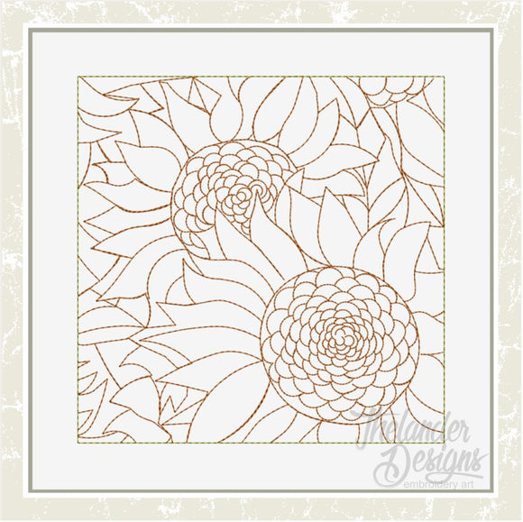 T1633 Sunflower Stippling Quilt Block
