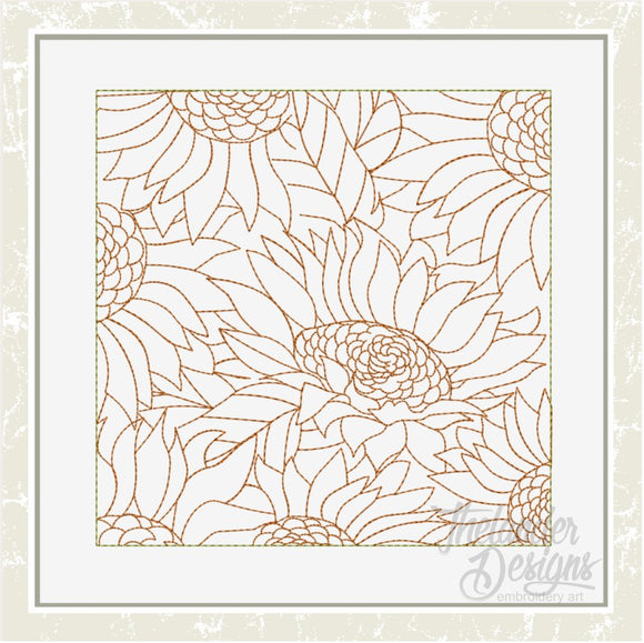 T1634 Sunflower Stippling Quilt Block