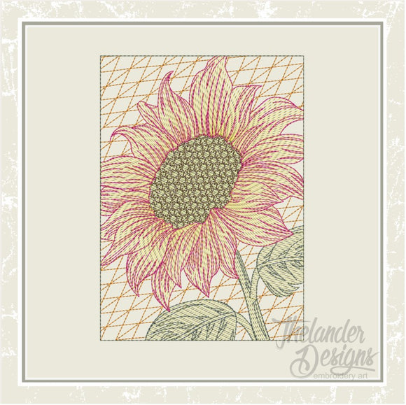 T1635 Filled Sunflower Rectangle Quilt Block