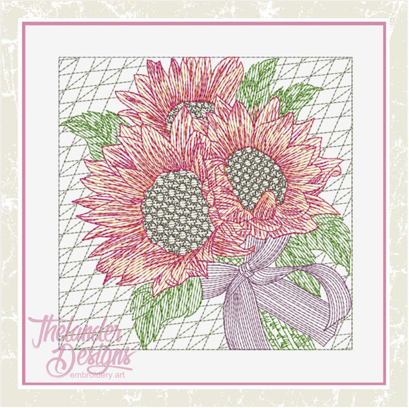 T1636 Sunflower Bouquet Quilt Block