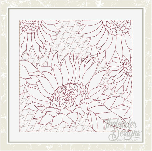 T1637 Rectangle Sunflower Stipple Block