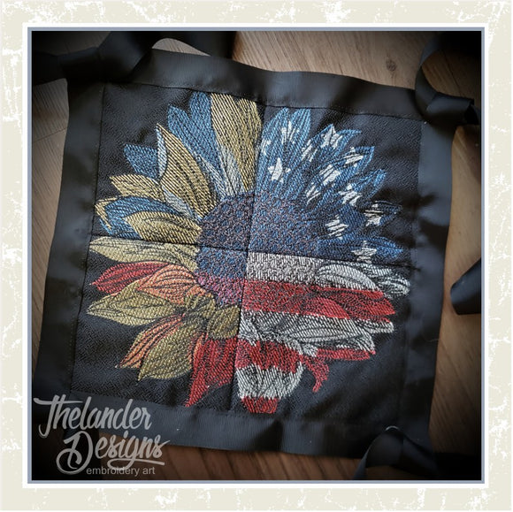 T1695 Four Panel Patriotic Sunflower