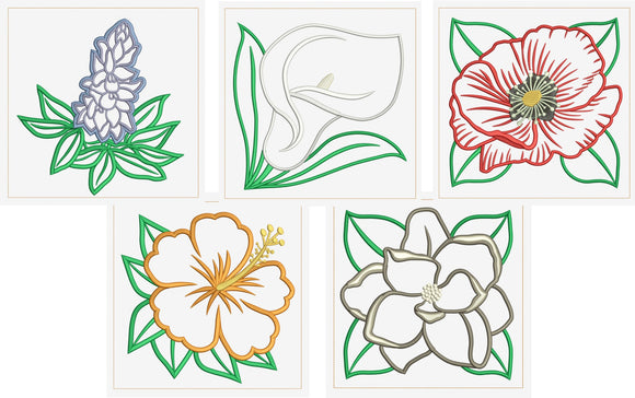 T1592 Flower Applique Quilt Blocks 3