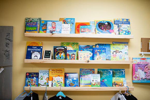 A selection of children's books in our Lavender and Play Boutique in Peterborough