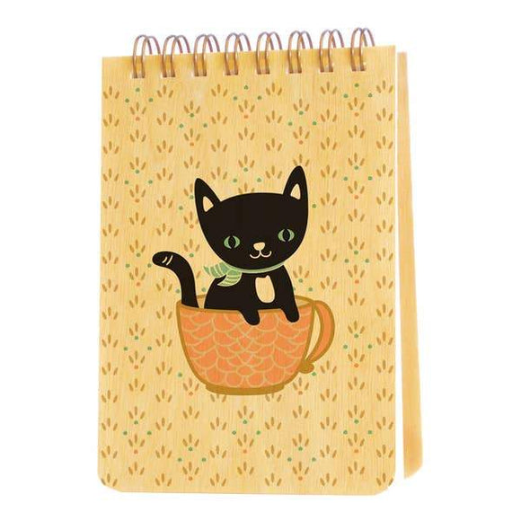 Cuppa Kitty Wood Notebook