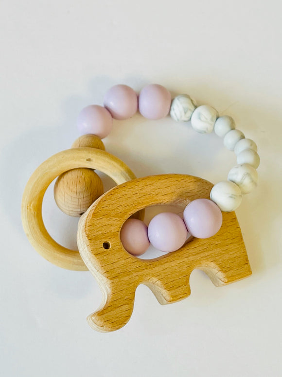 Beechwood Elephant and silicone teething rattle
