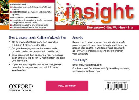 Insight - Elementary (oxfl) Online Workbook Plus – Card with Access Code