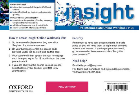 Insight - Pre-Intermediate (oxfl) Online Workbook Plus - Card with Access Code