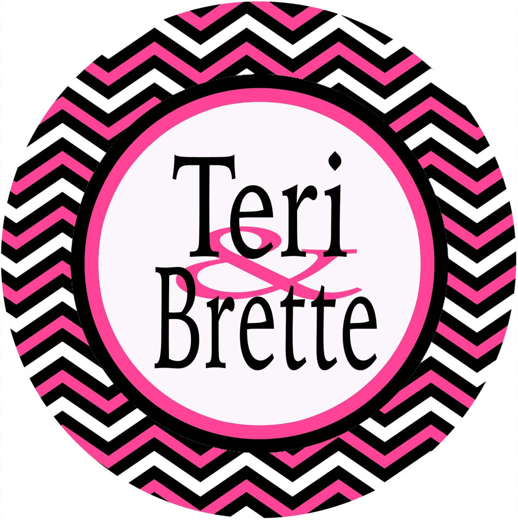 Black and Hot Pink Chevron Personalized Room Sign