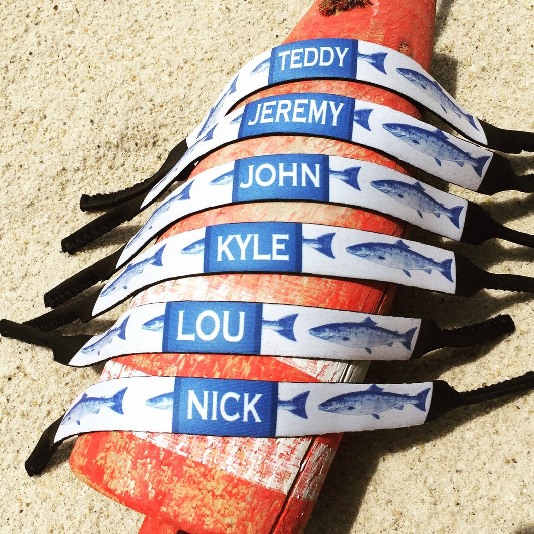 Guys Blue Fish Personalized Neoprene Sunglass Strap