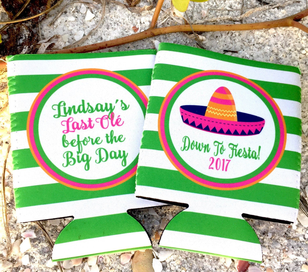 Fiesta Stripe Personalized Party Can Huggers