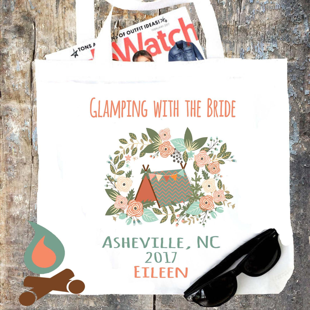 Floral Glamping Personalized Tote Bag