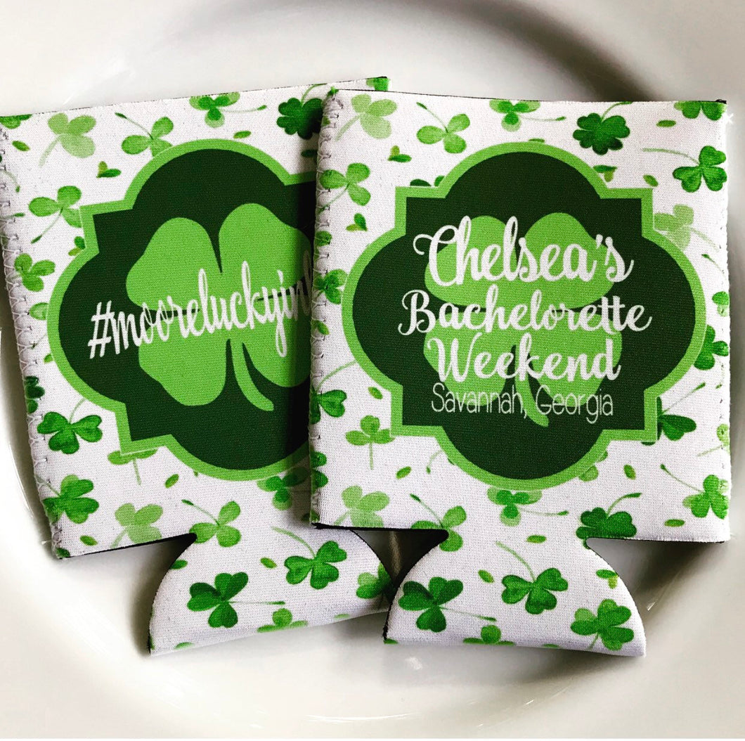 Shamrock Watercolor Huggers. St Patrick's Day Party Favors. St Patricks Bachelorette huggers. Irish Party Favors. Personalized Can Coolers!