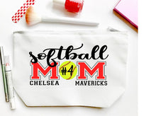Load image into Gallery viewer, Softball Mom Personalized Make Up Bag