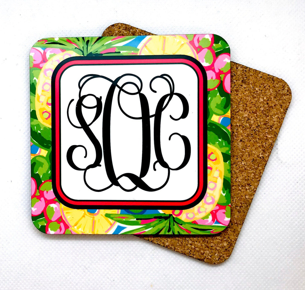 2 Monogrammed Pineapple Coasters