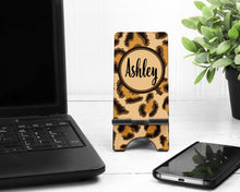 Load image into Gallery viewer, Leopard Personalized Cell Phone Stand