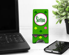 Load image into Gallery viewer, Green Spades Personalized Cell Phone Stand.