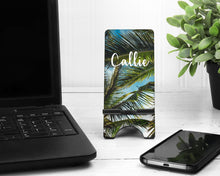 Load image into Gallery viewer, Tropical Palms Personalized Cell Phone Stand