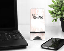 Load image into Gallery viewer, Rose Gold Palms Personalized Cell Phone Stand