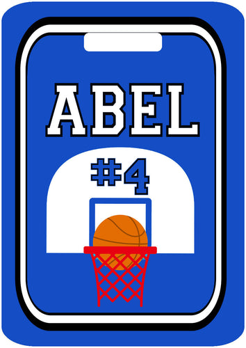 Basketball Bag Tag. Great Basketball team present or Birthday gift. Monogram or Last name, and number. Any school colors can be used!