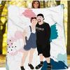 Personalized Faceless Illustration Photo Design Baby Family Couple Love Blanket - UH