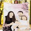 Personalized Faceless Illustration Photo Design Baby Couple Family Pink Blanket - UH