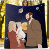 Personalized Faceless Illustration Photo Design Baby Couple Family Galaxy Blanket - UH